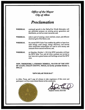 "Allen Proclaims Oct 1, 2016 ""DFW Solar Tour Day"""