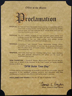 "Flower Mound Proclaims Oct 4, 2014 ""DFW Solar Tour Day"""