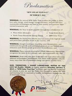 "Plano Proclaims Oct 3, 2015 ""DFW Solar Tour Day"""