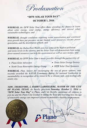 "Plano Proclaims Oct 1, 2016 ""DFW Solar Tour Day"""