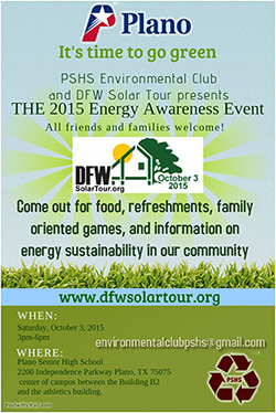 PSHS Environmental Club and DFW Solar Tour present THE 2015 Energy Awareness Event!